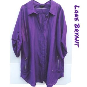 Lane Bryant plus Size 26/28W Purple Button Up Top